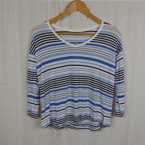 J Jill Women's Multi-Stripe V Neck Tee XS PETITE